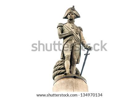Nelson Statue at Trafalgar Square, London, UK - stock photo
