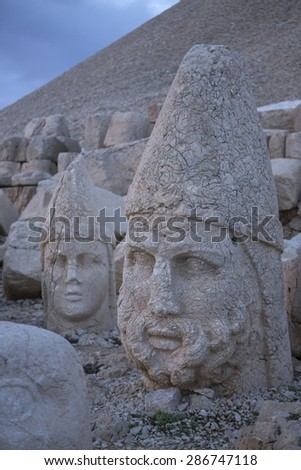 Nemrut is the high mountain in southeastern Turkey. There are a large statues on the top of the mountain. - stock photo