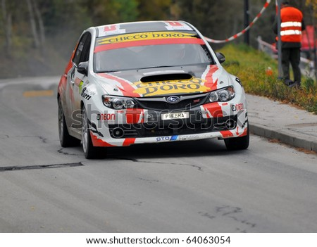 NENDAZ, SWITZERLAND - OCTOBER 30: Burri and Saucy on the Final day of the International Rally of the Valais: October 30, 2010 in Nendaz Switzerland