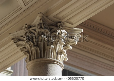 neo-classical column capital relief detail, Novara, Italy