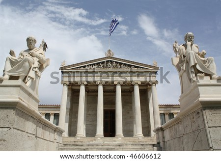 Neoclassical Academy of Arts of Athens in Greece, showing main building and statues of Plato and Athena (left) and Socrates and Apollo (right). - stock photo