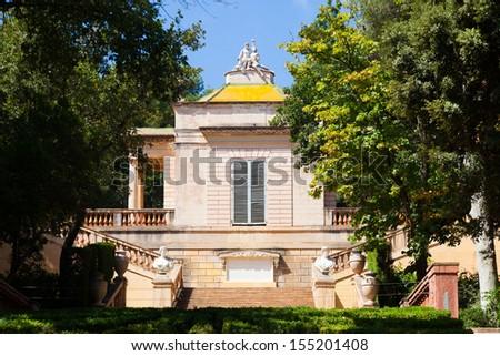 Neoclassical pavilion at Parc del Laberint de Horta in Barcelona. Catalonia, Spain - stock photo