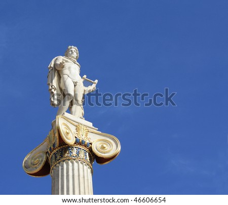 Neoclassical statue of ancient Greek god of the sun, Apollo, outside the Academy of Arts in Athens, Greece, with copyspace. - stock photo