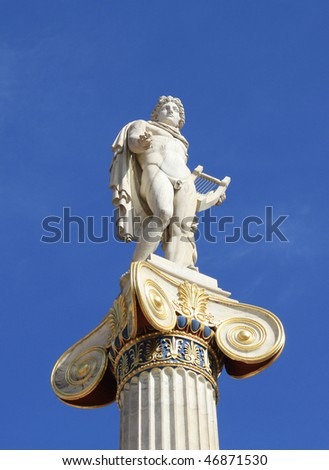 Neoclassical statue of ancient Greek god of the sun, Apollo, outside the Academy of Arts in Athens, Greece. - stock photo