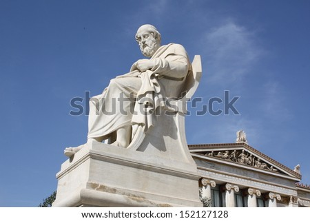 Neoclassical statue of ancient Greek philosopher Plato outside Academy of Arts of Athens, Greece. - stock photo