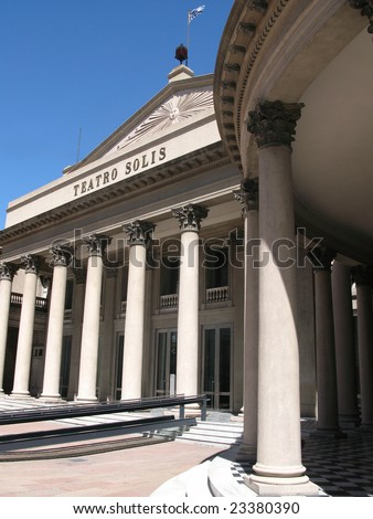 Neoclassicism architecture on Solis Theater, Montevideo Uruguay - stock photo