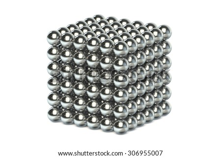 neocube toy, magnetic metal spheres isolated on white background