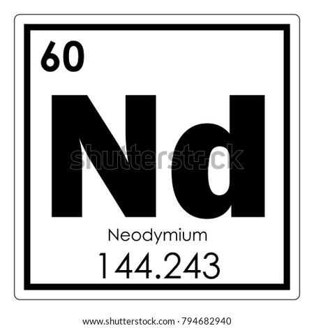 Neodymium Chemical Element Periodic Table Science Stock Illustration