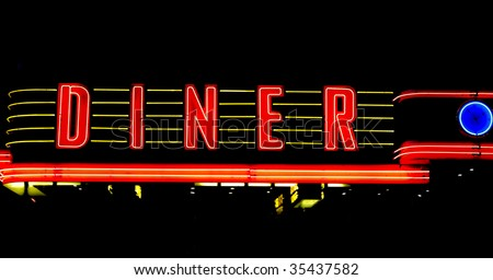 neon american diner sign - stock photo