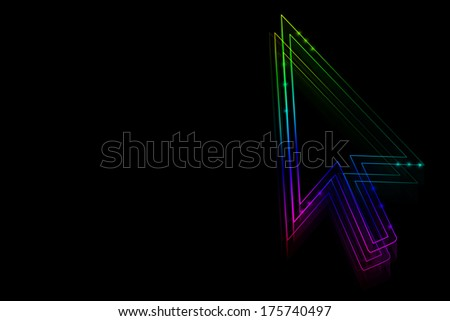 Neon arrow on a black background