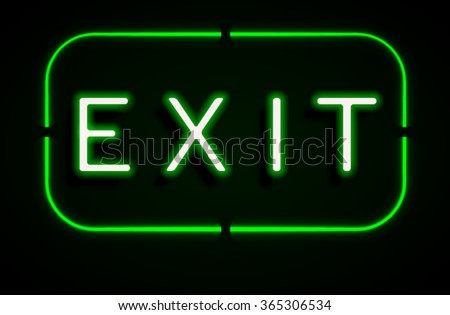Neon banner on text exit background