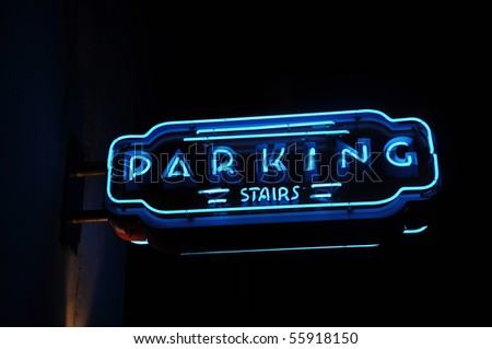Neon Blue Parking Light Sign