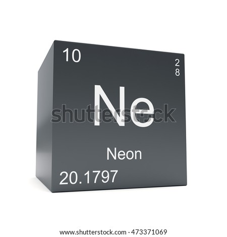 Neon Chemical Element Symbol From The Periodic Table Displayed On Black  Cube 3d Render