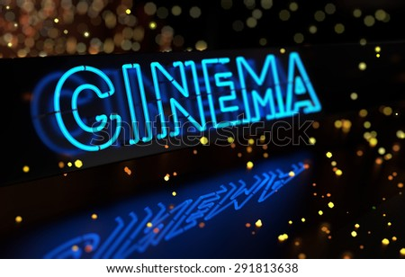 Neon Cinema Sign on Dark Blurred Background - stock photo