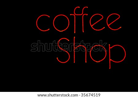 neon coffee shop sign in red - stock photo