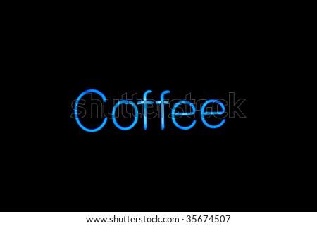 neon coffee sign - stock photo