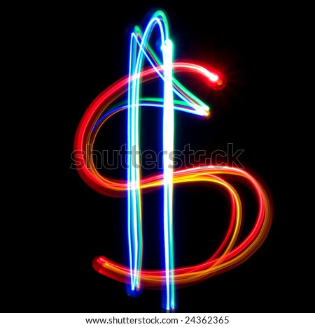 Neon dollar on the black background - stock photo