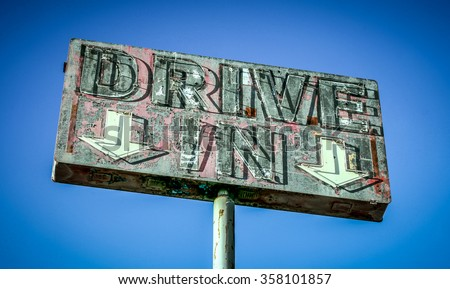 Neon drive in sign