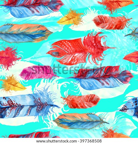 Neon feathers seamless with layering effect. Watercolor hand drawn illustration.