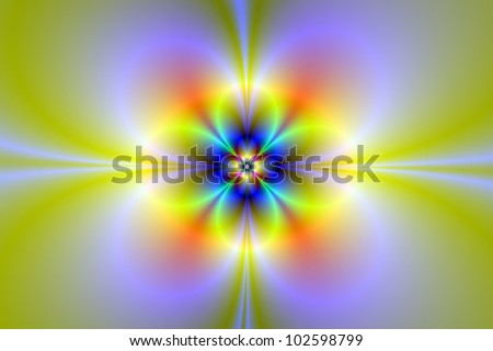 Neon Flower/Digital abstract image with a neon flower design in yellow, green, lilac and blue.