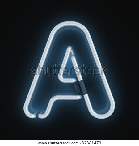 neon font letter a - stock photo