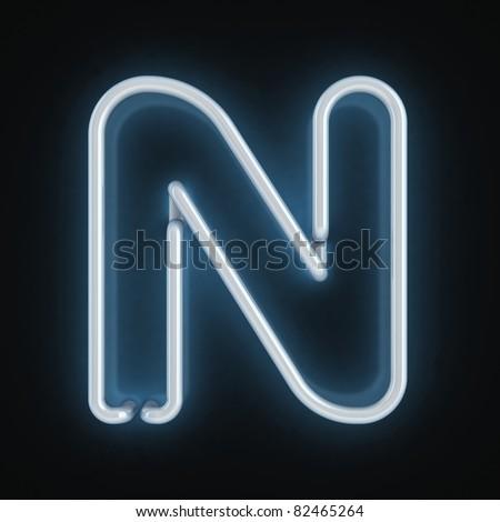 neon font letter n - stock photo