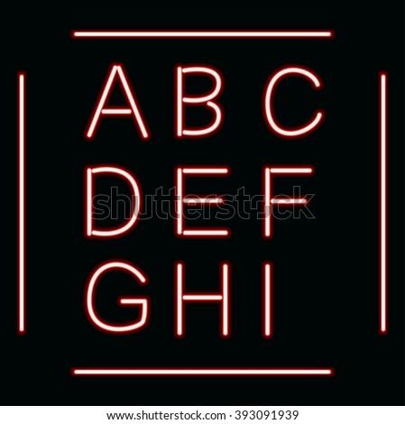 Neon Glow Alphabet Design Retro Font