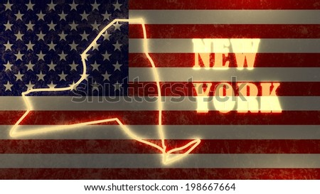 neon glowing outline map of the new york state on usa national flag backdrop - stock photo