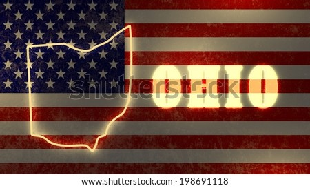 Neon Glowing Outline Map Of The Ohio State On Usa National Flag Backdrop
