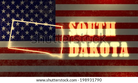 neon glowing outline map of the south dakota state on usa national flag backdrop - stock photo