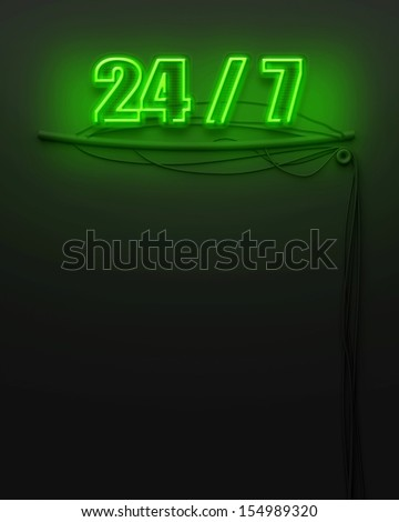 Neon glowing sign with word 24 7 and copyspace - stock photo