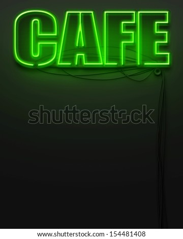 Neon glowing sign with word Cafe and copyspace - stock photo