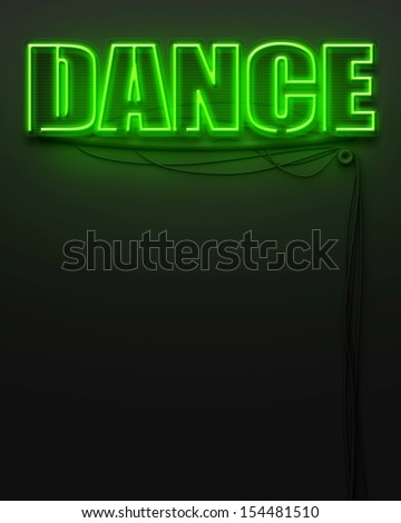 Neon glowing sign with word Dance and copyspace - stock photo