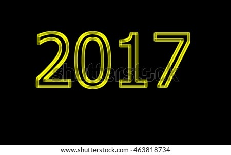Neon golden numbers 2017 on black background. Greeting card. Happy new year 2017