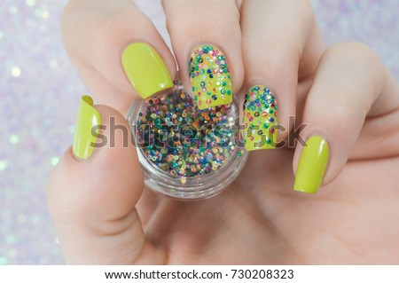 Neon Green Colorful Glitter Nails Stock Photo (Royalty Free ...
