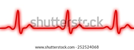Neon heart monitor (Electrocardiogram or ECG) isolated on white - stock photo