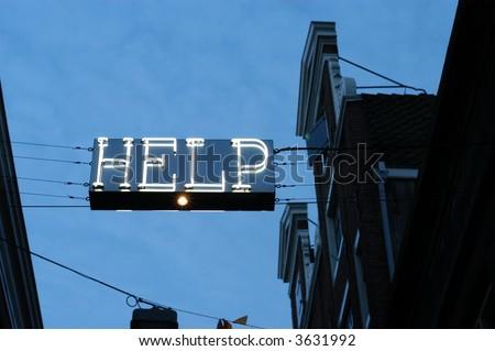 Neon Help - stock photo