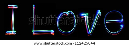 Neon inscription I Love - stock photo