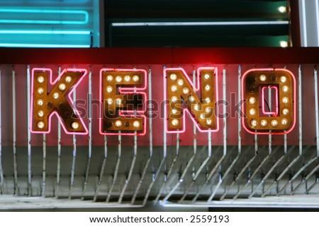 Neon keno sign - stock photo