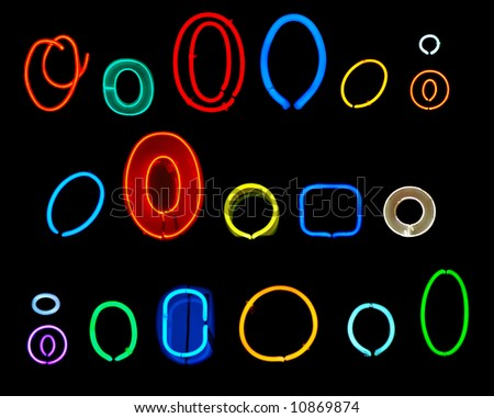 Neon letters O collected from neon signs for design elements - stock photo