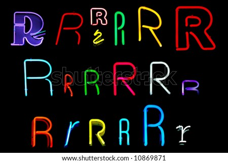 Neon letters R collected from neon signs for design elements