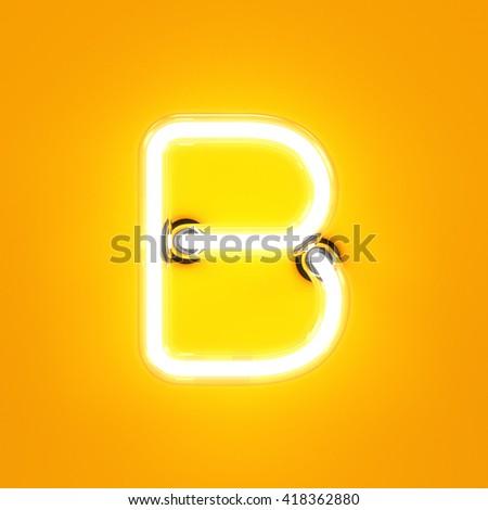 Neon light alphabet character B font. Neon tube letters glow effect on orange background. 3d rendering - stock photo