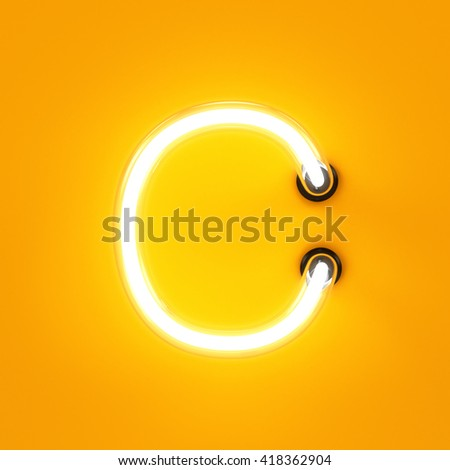 Neon light alphabet character C font. Neon tube letters glow effect on orange background. 3d rendering