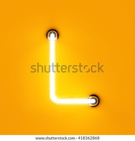 Neon light alphabet character L font. Neon tube letters glow effect on orange background. 3d rendering
