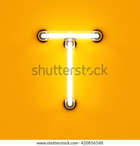 Neon light alphabet character T font. Neon tube letters glow effect on orange background. 3d rendering