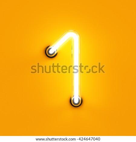 Neon light digit alphabet character 1 one font. Neon tube letter glow effect on orange background. 3d rendering - stock photo