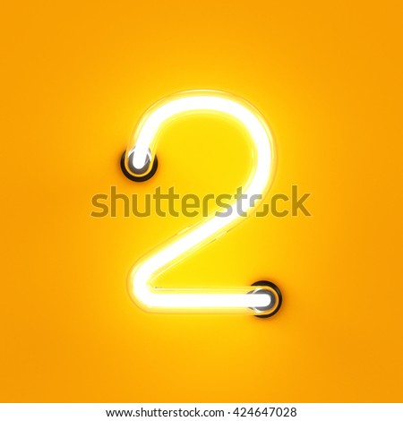 Neon light digit alphabet character 2 two font. Neon tube letter glow effect on orange background. 3d rendering - stock photo