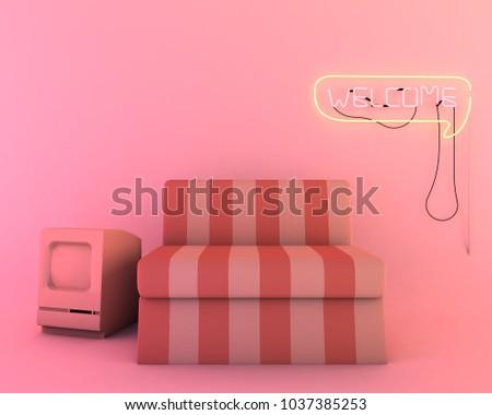 Neon Light Living Room Furniture 3 D Stock Illustration 1037385253 ...