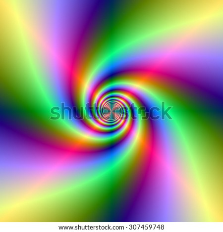Neon Lighthouse Spiral / A digital abstract fractal image with a colorful neon spiral design in green, red, yellow and violet.