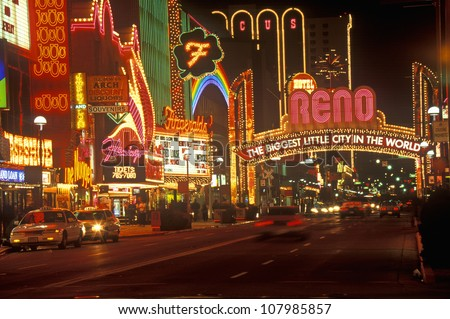 Neon lights at night in Reno, Nevada